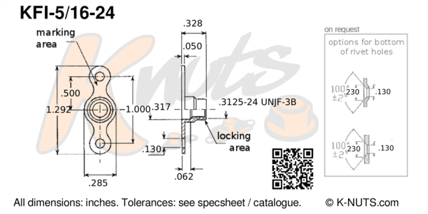 """drawing of 5/16""""-24 double lug fixed nutplate with dimensions"""