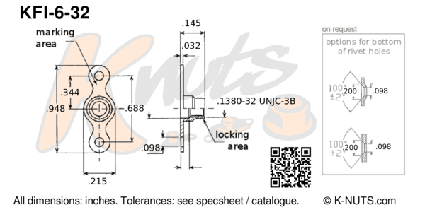 drawing of #6-32 double lug fixed nutplate with dimensions
