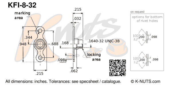 drawing of #8-32 double lug fixed nutplate with dimensions