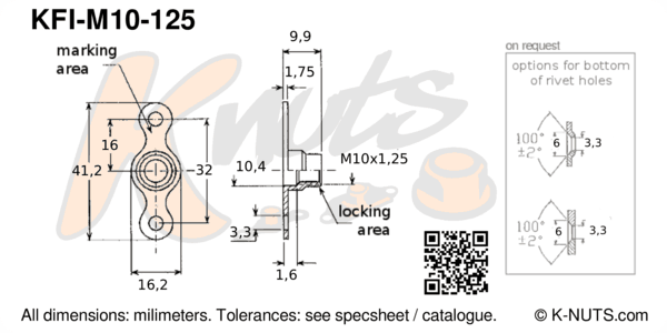 drawing of M10x1.25 double lug fixed nutplate with dimensions