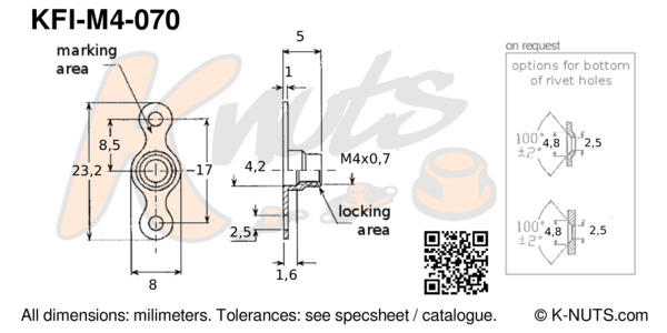 drawing of M4x0.7 double lug fixed nutplate with dimensions