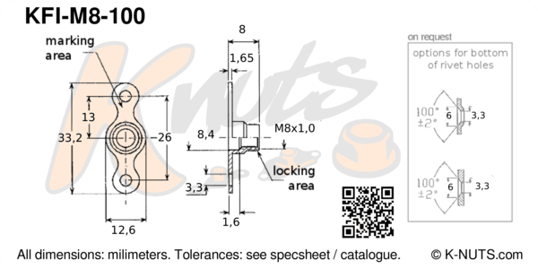 drawing of M8x1.0 double lug fixed nutplate with dimensions
