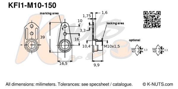 M10x1.5 single lug fixed anchor nut