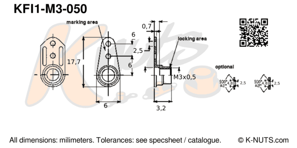 drawing of M3x0.5 single lug fixed nutplate with dimensions