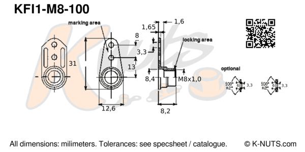M8x1.0 single lug fixed anchor nut