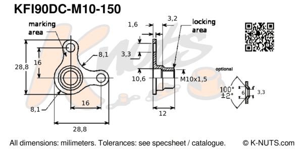 drawing of M10x1.5 90° corner nutplate with dimensions