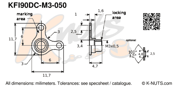 drawing of M3x0.5 90° corner nutplate with dimensions