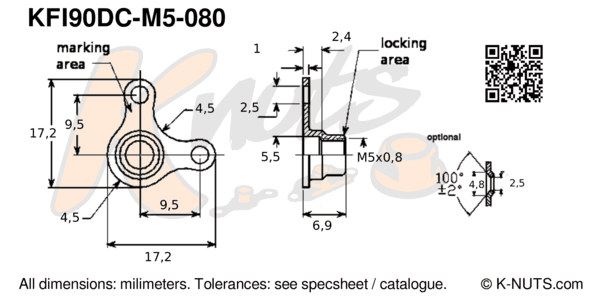 drawing of M5x0.8 90° corner nutplate with dimensions