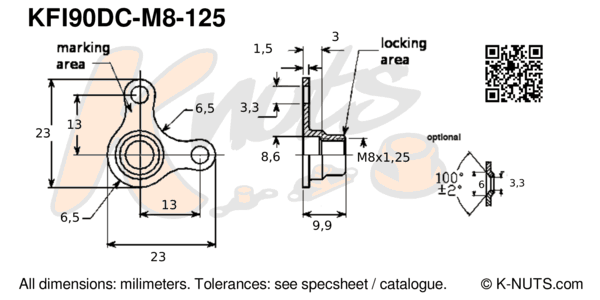 drawing of M8x1.25 90° corner nutplate with dimensions