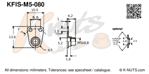 drawing of M5x0.8 side-by-side nutplate with dimensions