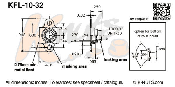 drawing of #10-32 double lug floating nutplate with dimensions