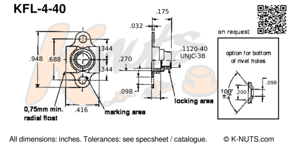 drawing of #4-40 double lug floating nutplate with dimensions