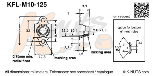 drawing of M10x1.25 double lug floating nutplate with dimensions