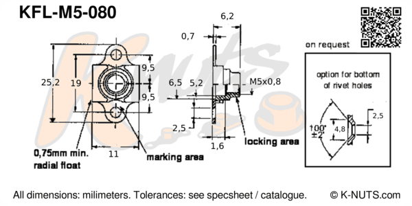 drawing of M5x0.8 double lug floating nutplate with dimensions