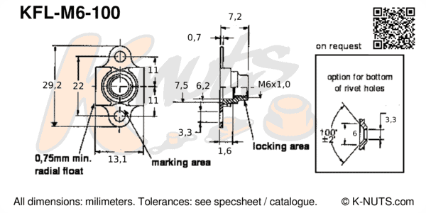 drawing of M6x1.0 double lug floating nutplate with dimensions