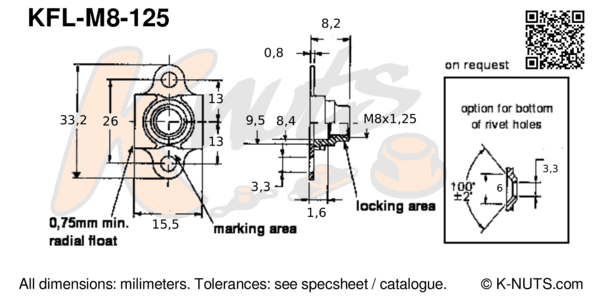 drawing of M8x1.25 double lug floating nutplate with dimensions