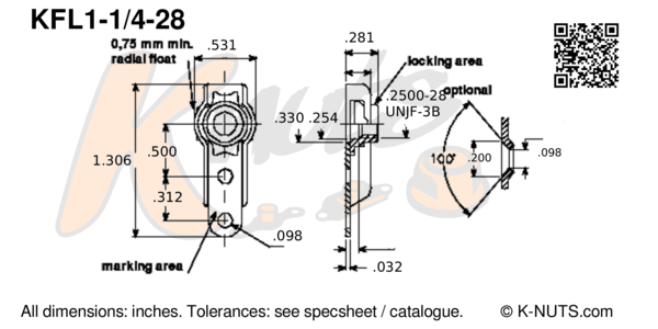 """drawing of 1/4""""-28 single lug floating nutplate with dimensions"""