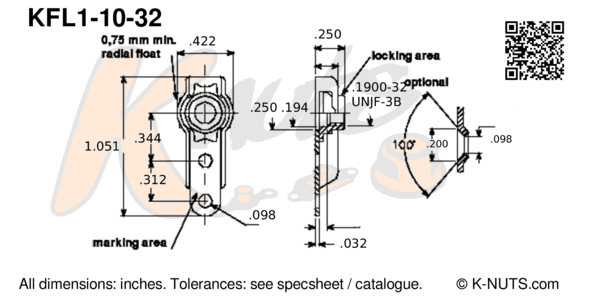 drawing of #10-32 single lug floating nutplate with dimensions