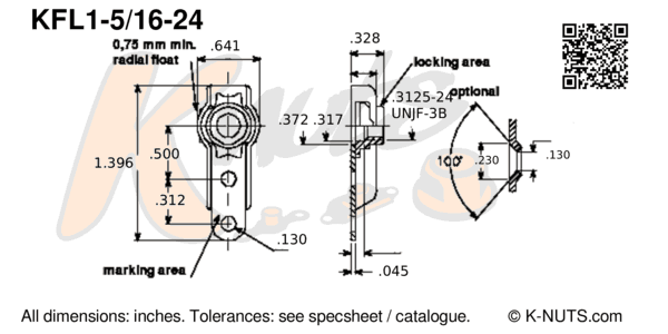 "drawing of 5/16""-24 single lug floating nutplate with dimensions"