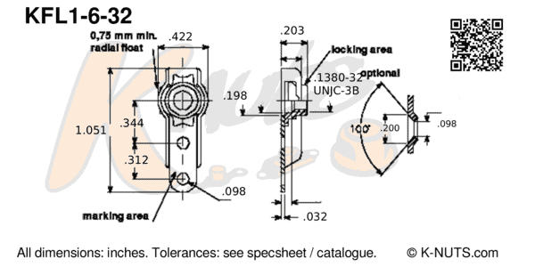 drawing of #6-32 single lug floating nutplate with dimensions