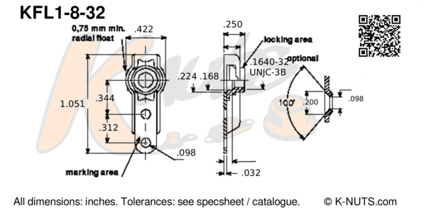 drawing of #8-32 single lug floating nutplate with dimensions