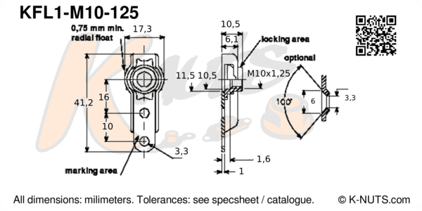 drawing of M10x1.25 single lug floating nutplate with dimensions