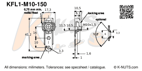 drawing of M10x1.5 single lug floating nutplate with dimensions