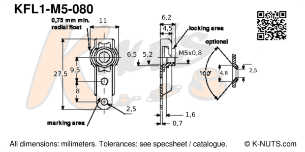 drawing of M5x0.8 single lug floating nutplate with dimensions