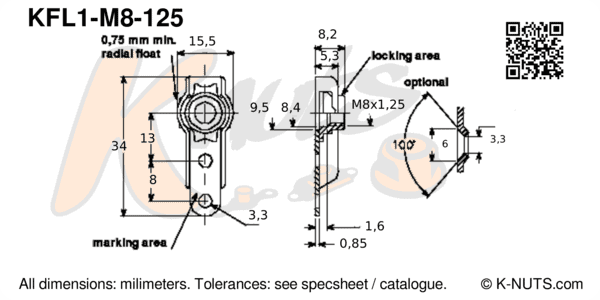 drawing of M8x1.25 single lug floating nutplate with dimensions