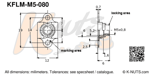 drawing of M5x0.8 miniature double lug floating nutplate with dimensions