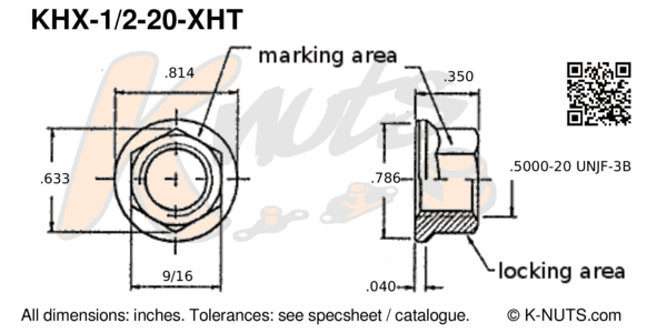 "drawing of 1/2""-20 hi-temp hex k-nut with dimensions"