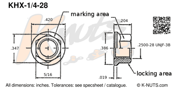 """drawing of 1/4""""-28 standard hex k-nut with dimensions"""