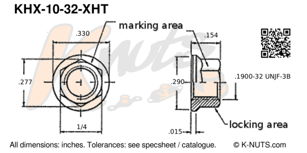drawing of #10-32 hi-temp hex k-nut with dimensions