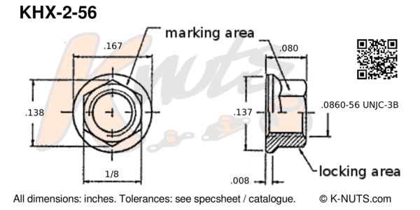 drawing of #2-56 standard hex k-nut with dimensions