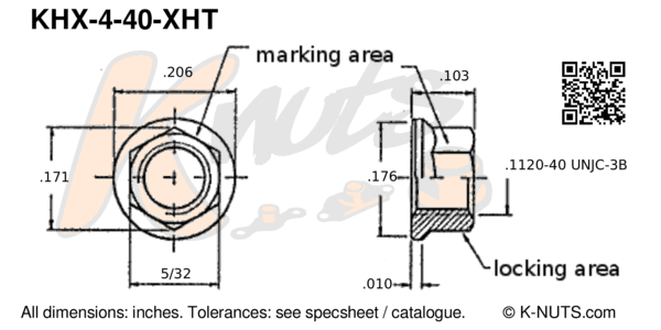 drawing of #4-40 hi-temp hex k-nut with dimensions