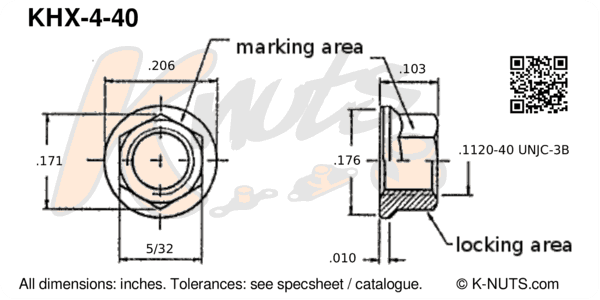 drawing of #4-40 standard hex k-nut with dimensions