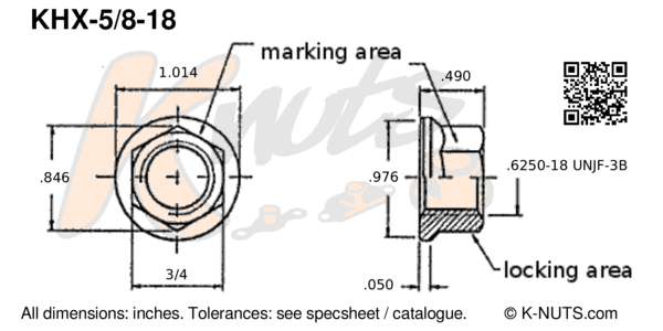 "drawing of 5/8""-18 standard hex k-nut with dimensions"