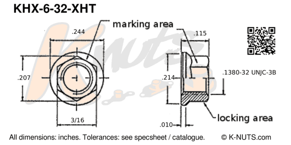 drawing of #6-32 hi-temp hex k-nut with dimensions