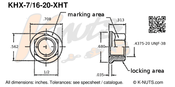 "drawing of 7/16""-20 hi-temp hex k-nut with dimensions"