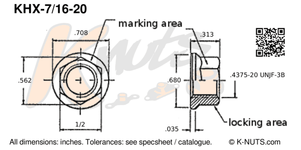 "drawing of 7/16""-20 standard hex k-nut with dimensions"
