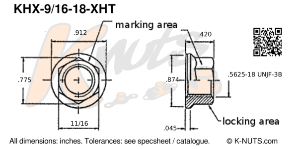 "drawing of 9/16""-18 hi-temp hex k-nut with dimensions"