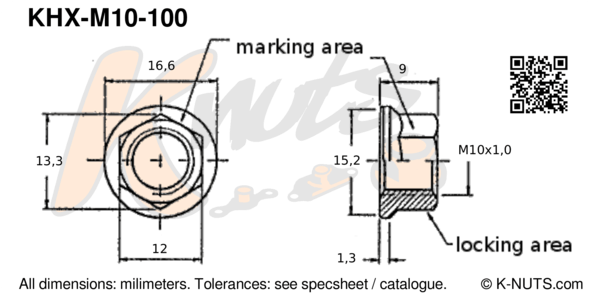 drawing of M10x1.0 standard hex k-nut with dimensions