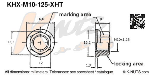 drawing of M10x1.25 hi-temp hex k-nut with dimensions