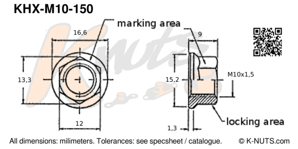 drawing of M10x1.5 standard hex k-nut with dimensions