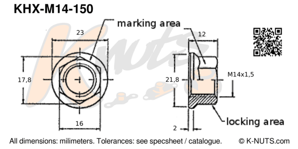drawing of M14x1.5 standard hex k-nut with dimensions