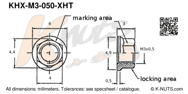 drawing of M3x0.5 hi-temp hex k-nut with dimensions