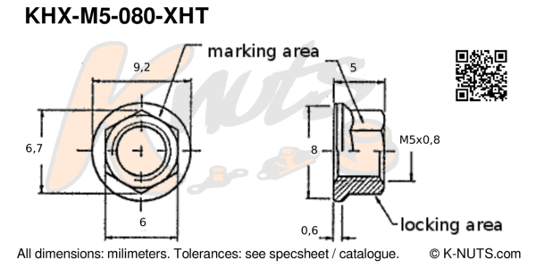 drawing of M5x0.8 hi-temp hex k-nut with dimensions