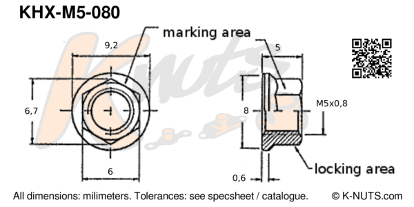 drawing of M5x0.8 standard hex k-nut with dimensions