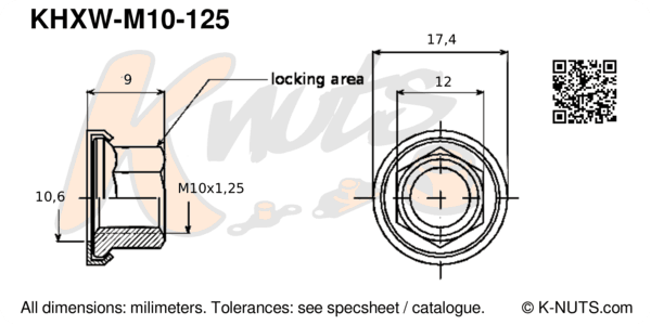 drawing of M10x1.25 hex k-nut with captive washer with dimensions