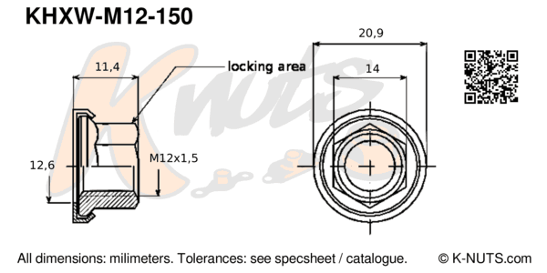 drawing of M12x1.5 hex k-nut with captive washer with dimensions